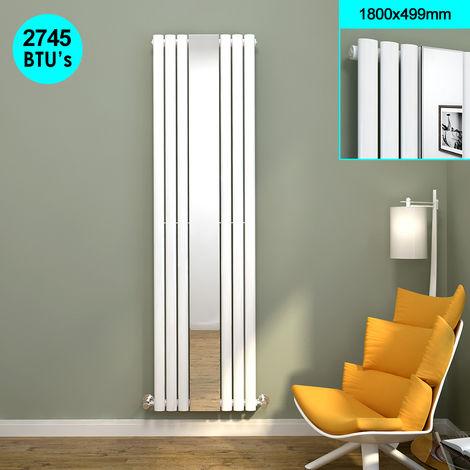 ELEGANT Bathroom Radiator 1800 x 499 mm Oval Single Panel Designer Heater White Mirror Radiator Vertical Column