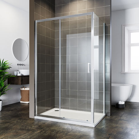 ELEGANT Bathroom Sliding Shower Enclosure Cubicle 6mm Glass Screen Bath 1000x760mm Reversible Shower Door with Side Panel