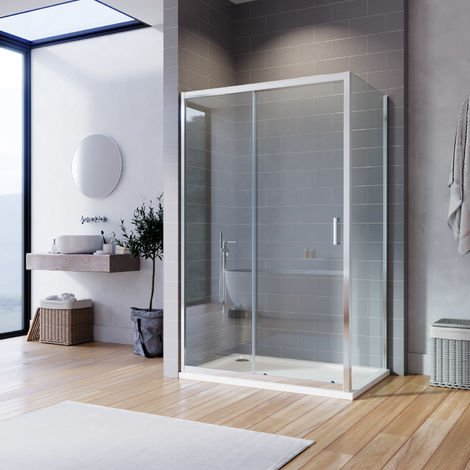 ELEGANT Bathroom Sliding Shower Enclosure Cubicle 6mm Glass Screen Bath Reversible Shower Door with Side Panel 1000x700mm