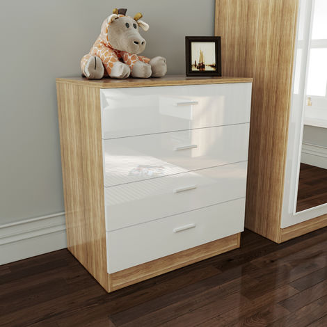 Elegant Bedroom Nightstand with Drawer Bedside Table Cabinet for Storage- 465x450x330mm, High Gloss,White/Oak