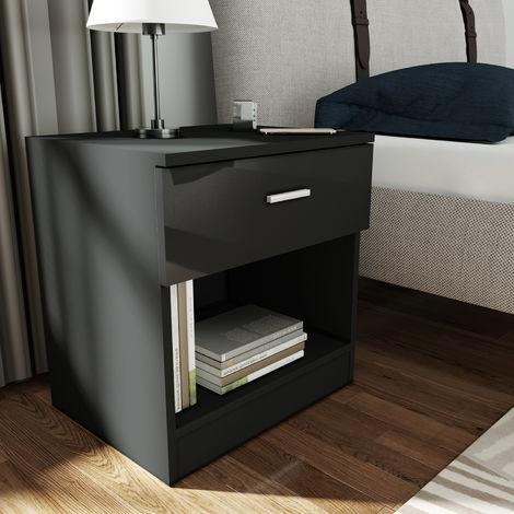 ELEGANT Bedside Cabinet Night Stand Storage Shelf with Bin Drawer, for Bedroom or Home Storage Organizer, Black