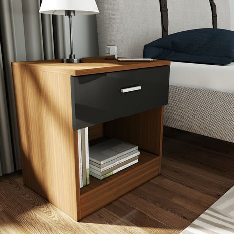 ELEGANT Bedside Cabinet Night Stand Storage Shelf with Bin Drawer, for Bedroom or Home Storage Organizer High Gloss, Black/Walnut