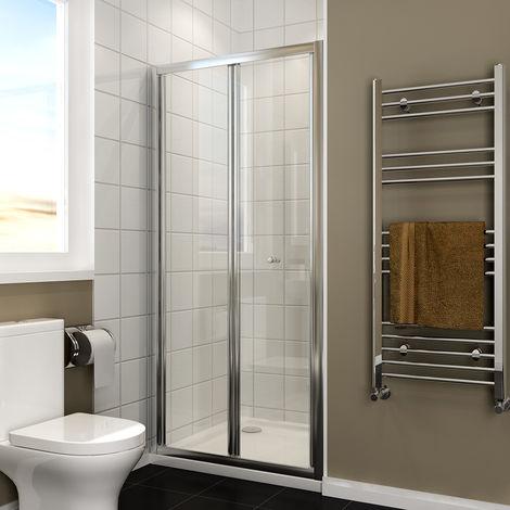 ELEGANT Bi Fold Shower Door 900mm Bi-Fold Shower Door Enclosure Glass Reversible Folding Cubicle
