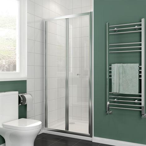 ELEGANT Bi-Fold Shower Door Enclosure Glass Reversible Folding Cubicle
