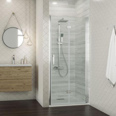 ELEGANT Bifold Shower Door Glass Shower Enclosure Reversible Folding Cubicle Screen Door