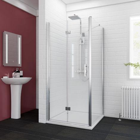 ELEGANT Bifold Shower Enclosure 1000 x 700 mm Glass Shower Door Reversible Folding Cubicle Door + Side Panel
