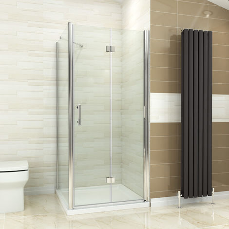 ELEGANT Bifold Shower Enclosure Glass Shower Door Reversible Folding Cubicle + Side Panel