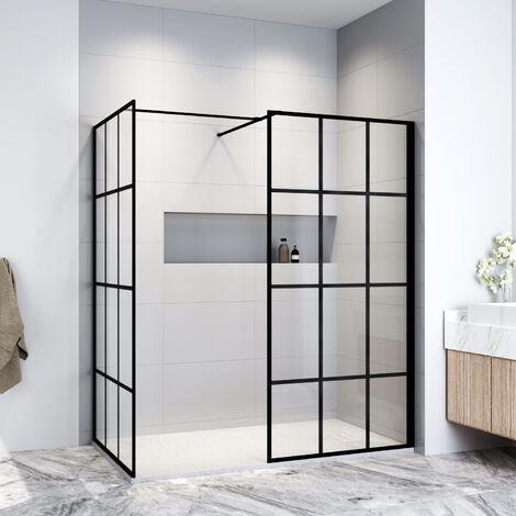 ELEGANT Black 1000mm Walk in Shower Screen + 900mm Side Panel+ 1400x900mm Anti-Slip Resin Shower Tray + Striped Stainless steel drain cover
