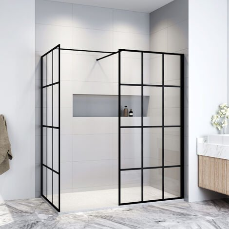 ELEGANT Black 1000mm Walk in Shower Screen + 900mm Side Panel+ 1400x900mm Anti-Slip Resin Shower Tray,Open Entry Shower Screen