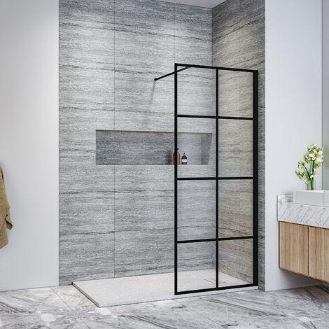ELEGANT Black 700mm Walk in Shower Screen + 1400x700mm Anti-Slip Resin Shower Tray, 8mm Safety Tempered Glass Bathroom Open Entry Shower Screen