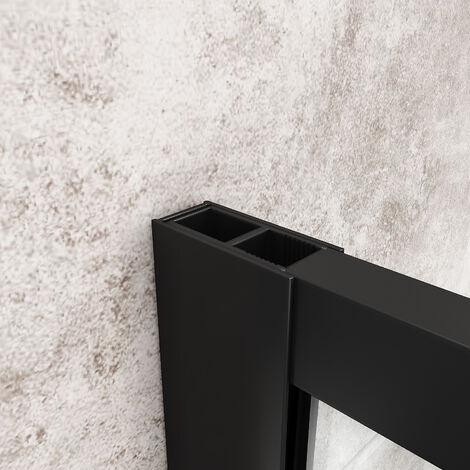 ELEGANT Black 700mm Walk in Shower Screen + 1500x800mm Anti-Slip Resin Shower Tray, 8mm Safety Tempered Glass Bathroom Open Entry Shower Screen
