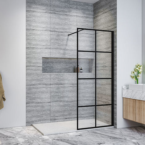 ELEGANT Black 760mm Walk in Shower Screen + 1400x900mm Anti-Slip Resin Shower Tray, 8mm Safety Tempered Glass Bathroom Open Entry Shower Screen