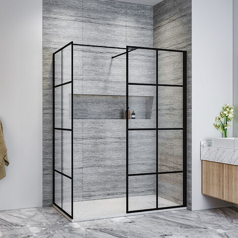 ELEGANT Black 760mm Walk in Shower Screen + 700mm Side Panel+ 1200x700mm Anti-Slip Resin Shower Tray,Open Entry Shower Screen