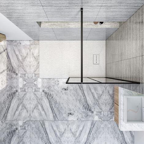 ELEGANT Black 800mm Walk in Shower Screen + 1200x900mm Anti-Slip Resin Shower Tray, 8mm Safety Tempered Glass Bathroom Open Entry Shower Screen