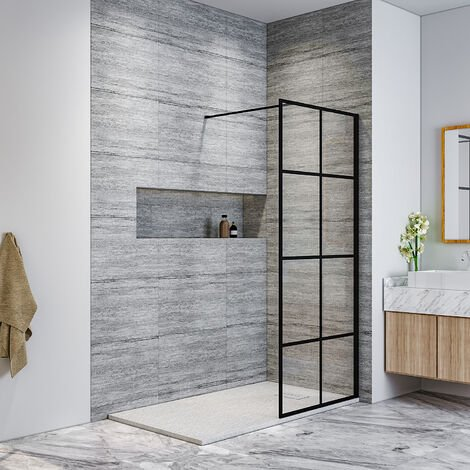 ELEGANT Black 800mm Walk in Shower Screen + 1400x700mm Anti-Slip Resin Shower Tray, 8mm Safety Tempered Glass Bathroom Open Entry Shower Screen