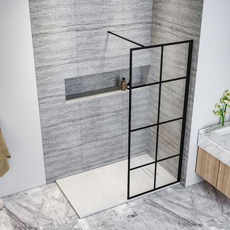 ELEGANT Black 800mm Walk in Shower Screen + 1700x800mm Anti-Slip Resin Shower Tray, 8mm Safety Tempered Glass Bathroom Open Entry Shower Screen