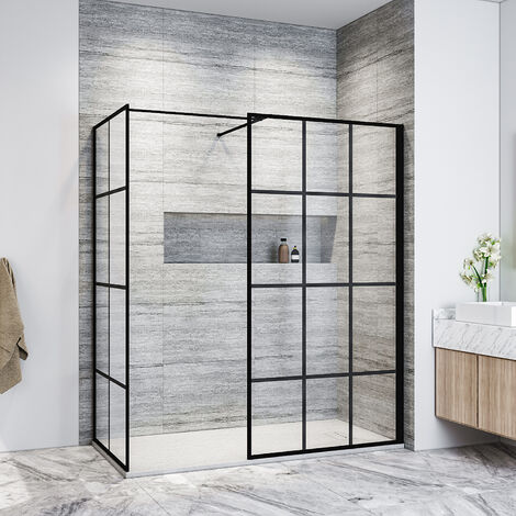ELEGANT Black 900mm Walk in Shower Screen + 700mm Side Panel+ 1500x700mm Anti-Slip Resin Shower Tray,Open Entry Shower Screen