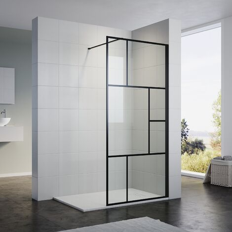 ELEGANT Black Grid Frame Walk in Shower Screen 1200mm Easy Clean Safety Tempered Glass Bathroom Open Entry Shower Screen Reversible Shower Door with Antislip Shower Tray 1600 x 800 mm