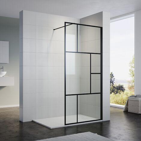 ELEGANT Black Grid Frame Walk in Shower Screen 1200mm Easy Clean Safety Tempered Glass Bathroom Open Entry Shower Screen Reversible Shower Door with Antislip Shower Tray 1700 x 800 mm