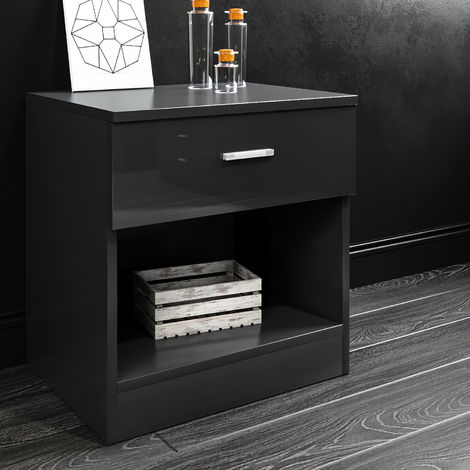 ELEGANT Black High Gloss Bedside Cabinet Night Stand Storage Shelf with Bin Drawer for Bedroom or Home Storage Organizer
