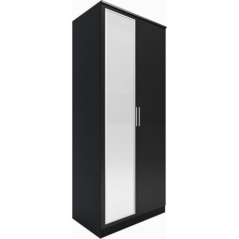 ELEGANT Black Modern High Gloss Soft Close 2 Doors Wardrobe with Mirror and Metal Handles Includes a removable hanging rod and storage shelves