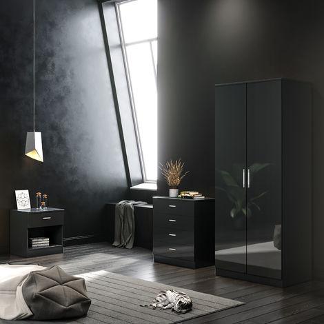 ELEGANT Black Modern High Gloss Wardrobe and Cabinet Furniture Set Bedroom 2 Doors Wardrobe and 4 Drawer Chest and Bedside Cabinet