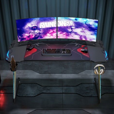 ELEGANT Black PC Gaming Desk with LED Lights Large Z-Shaped Office PC Computer Desk with RGB lighting for Home Office 140x60cm with Headphone Hooks, Cup Holder and Free Mouse Pad