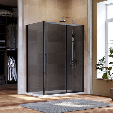 ELEGANT Black Shower Enclosure Sliding 1100 x 900 mm Bathroom 8mm Nano Glass Shower Enclosure Easy Clean with 900mm Side Panel + Shower Tray and Waste