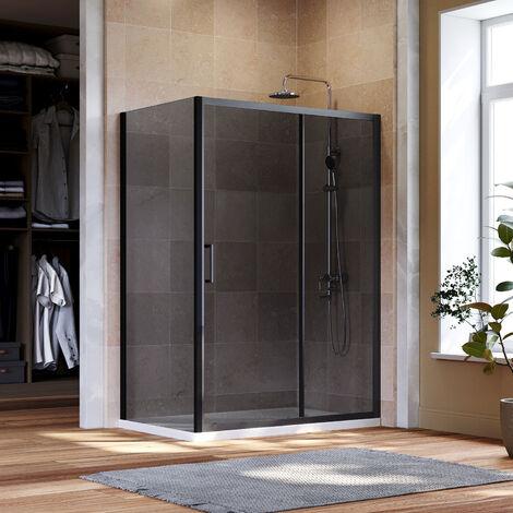 ELEGANT Black Sliding Door Shower Enclosure 1100mm Bathroom 8mm Nano Glass Shower Enclosure Easy Clean with 800mm Side Panel