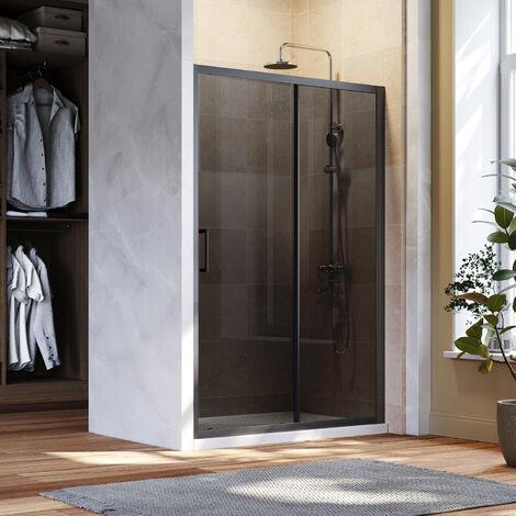 "main image of ""ELEGANT Black Sliding Shower Doors 1100mm Bathroom 8mm Nano Glass Shower Enclosure Easy Clean"""