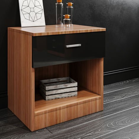 ELEGANT Black/Walnut Modern High Gloss Bedside Cabinet Night Stand Storage Shelf with Bin Drawer, for Bedroom or Home Storage Organizer
