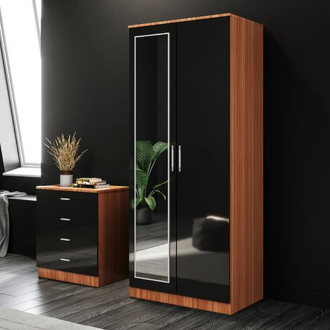ELEGANT Black/Walnut Modern High Gloss Soft Close 2 Doors Wardrobe with Mirror and Metal Handles Includes a removable hanging rod and storage shelves