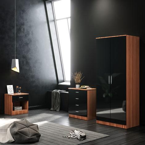 ELEGANT Black/Walnut Modern High Gloss Wardrobe and Cabinet Furniture Set Bedroom 2 Doors Wardrobe and 4 Drawer Chest and Bedside Cabinet
