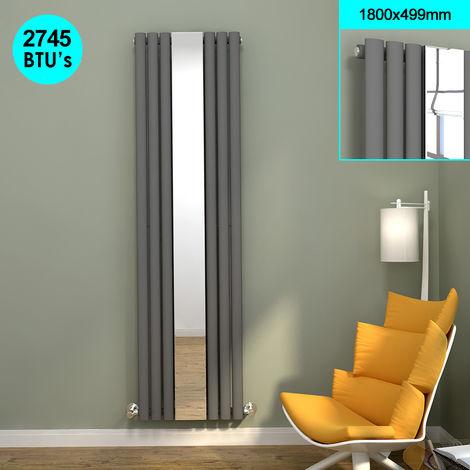 ELEGANT Central Heating 1800 x 500 mm Vertical Mirror Radiator Designer Oval Column Panel Central Heating Radiators (Anthracite)