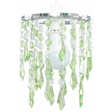 Elegant Chandelier Ceiling Pendant Light Shade with & Acrylic Jewel Droplets - Teal - Silver