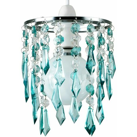 Elegant Chandelier Ceiling Pendant Light Shade with & Acrylic Jewel Droplets - Teal