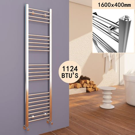 ELEGANT Chrome Heated Towel Rail Straight Designer Bathroom Radiator (1600x400mm)