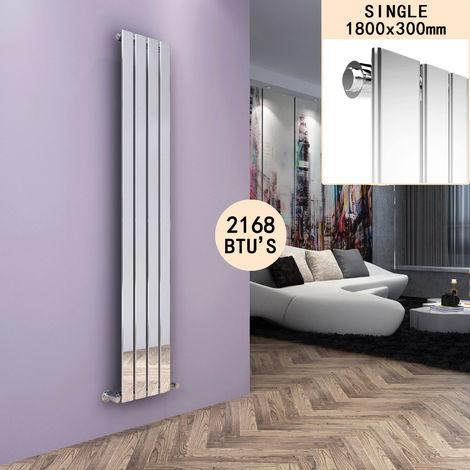 ELEGANT Chrome Vertical Radiator 1800 x 300 Single Flat Panel Central Heating Designer Radiators