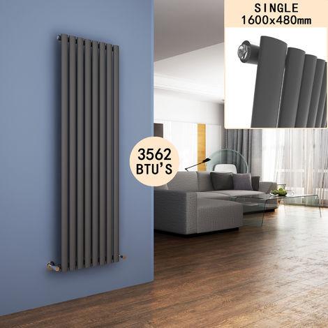 ELEGANT Column Radiators Anthracite 1600 x 480mm Oval Single Panel Heater Designer Vertical Radiator