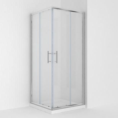 ELEGANT Corner Entry Shower Enclosure 900 x 900 mm Square Sliding Shower Enclosure