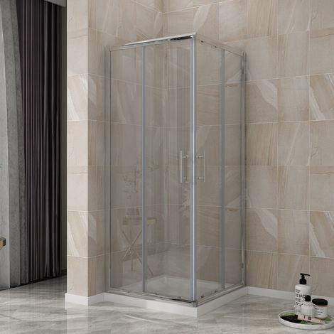 ELEGANT Corner Entry Shower Enclosure 900 x 900 mm Square Sliding Shower Enclosure Cubicle