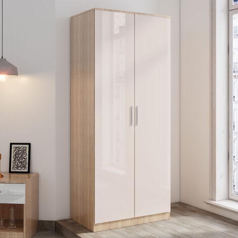 ELEGANT Cream/oak 2 Doors Wardrobe with Soft Close Hinge High Gloss Bedroom Furniture Set