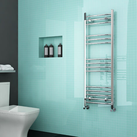 ELEGANT Curved Heated Towel Rail Bathroom Radiator 1200 x 400 Chrome