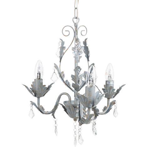Elegant Decorative Accent Chandelier Pendant Lamp Wrought Iron Grey Isen
