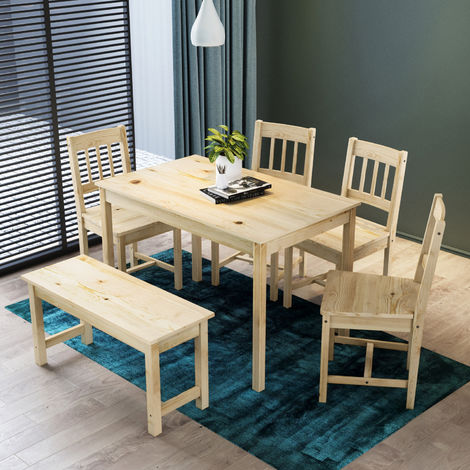 ELEGANT Dining Table and 4 Chairs Kitchen/Living Room Furniture, Solid Pine Wood Dining Room set