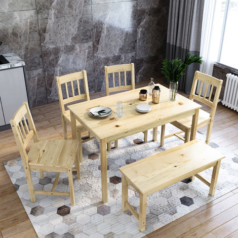ELEGANT Dining Table and 4 Chairs Solid Pine Nature Kitchen Living Room Furniture Wood Dining Room Set
