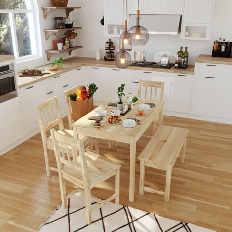 ELEGANT Dining Table and 4 Chairs with 2 Seats Bench, Nature Kitchen/Living Room Furniture, Solid Pine Wood Dining Room set with 1 Wooden Bench