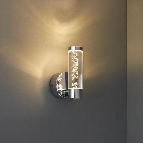 Elegant Essence 1 Light Wall Light IP44 3W Warm White Silver Chrome Finish