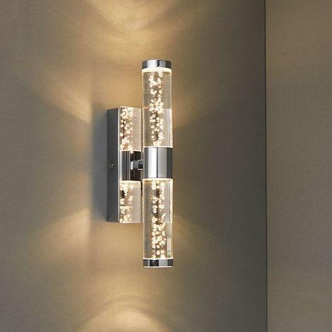 Elegant Essence 2 Light Wall Light IP44 3W Warm White Chrome Plate