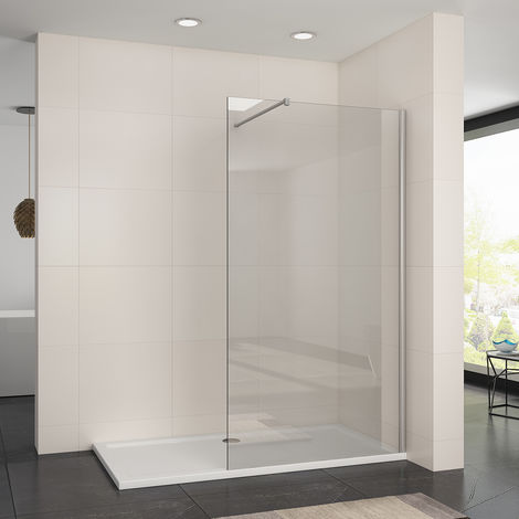 ELEGANT Frameless Wet Room 1100mm Shower Screen Panel 8mm Easy Clean Glass Walk in Shower Enclosure with Stainless Steel Support Bar